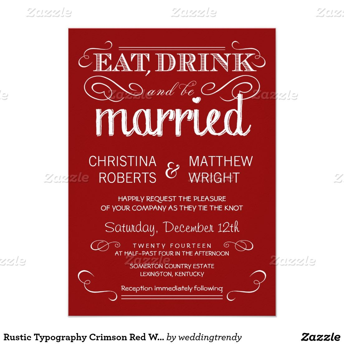 Rustic Typography Crimson Red Wedding Invitations | WEDDING ...