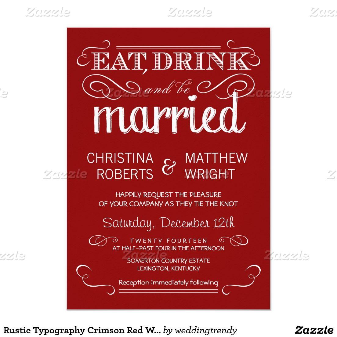 Rustic Typography Crimson Red Wedding Invitations   WEDDING ...