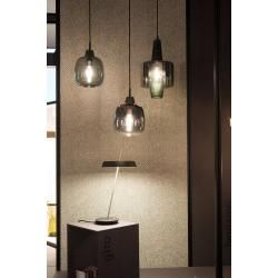 Photo of Mawa Design Venezia pendant lamp – Gangkofner-Edition glass 2 x crystal dark textile cable gray white