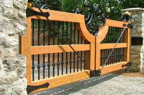 Spanish Cedar Wood Gate With Wrought Iron Hardware