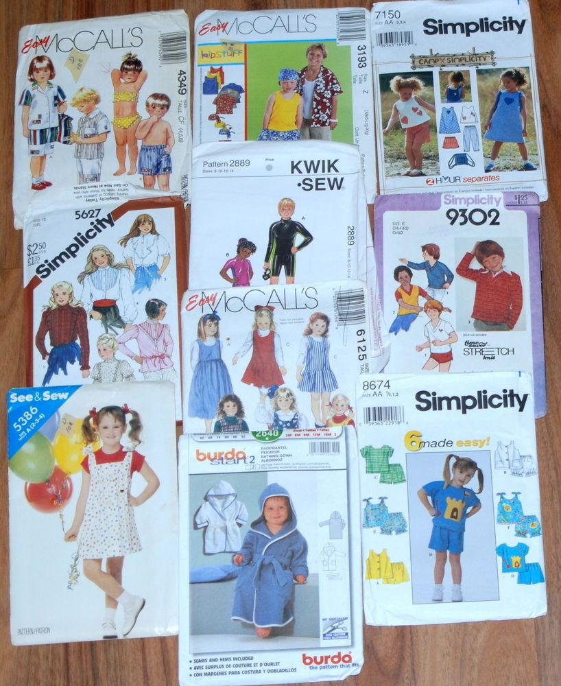 Vtg sewing pattern lot s kids child dress swimwear tops boy
