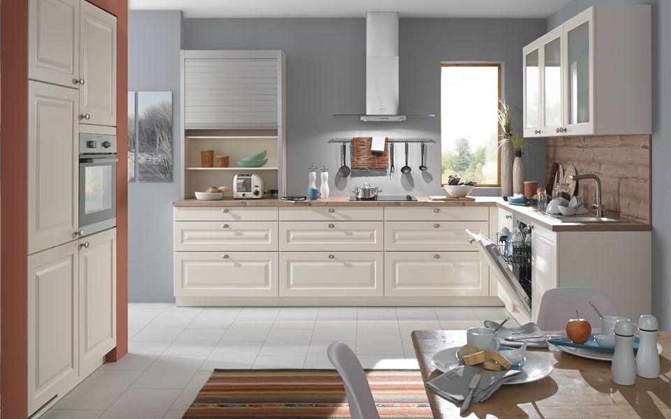 Einbauküche landhausstil magnolie creme matt küche co küche