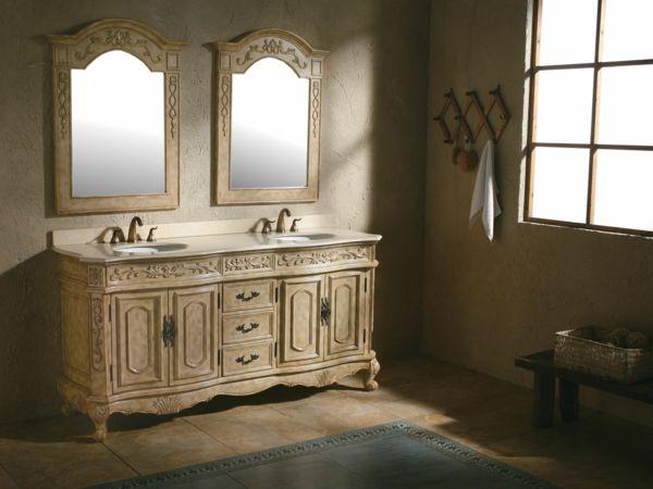 deux commodes de style ancien et un meuble double vasque pour salle de bain