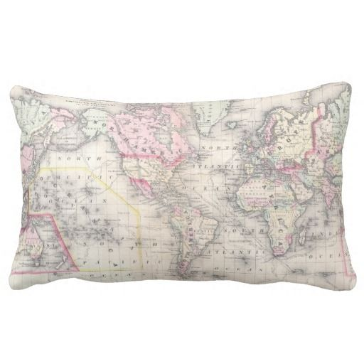 Vintage Map of The World (1864) Throw Pillows