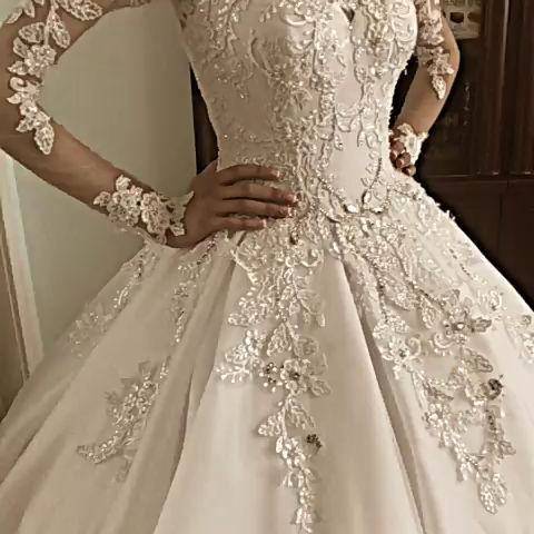 Photo of Magbridal Fantastic Tulle Jewel Neckline Ball Gown Wedding Dresses With Beaded Lace Appliques