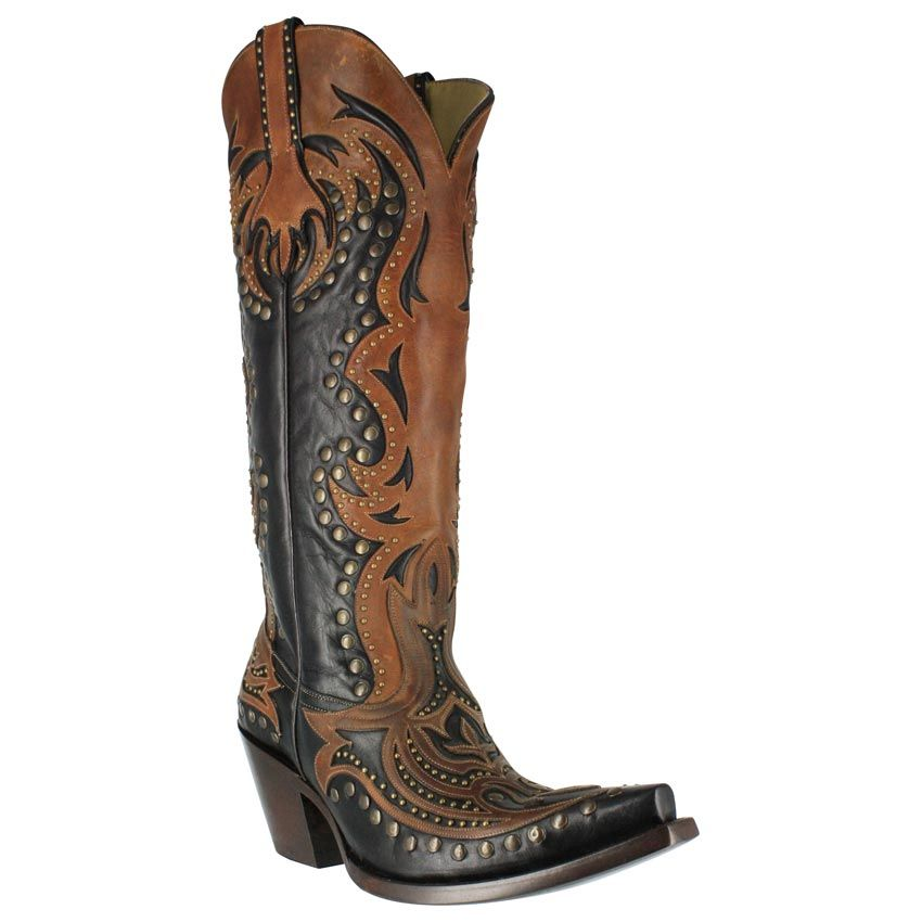 11801e1ad83 Corral Women s Tall Top Inlay and Stud Western Boots - Boot Barn