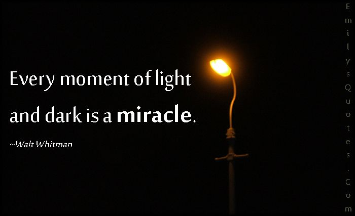 Every Moment Of Light And Dark Is A Miracle Popular Inspirational Quotes At Emilysquotes Reflection Quotes Light In The Dark Light Quotes