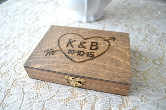 Personalized Engraved Woodburned Rustic Woodland Wooden Wedding Ring Box, Burlap or Moss Lined Ring Bearer Box Rustic Ring Bearer Box