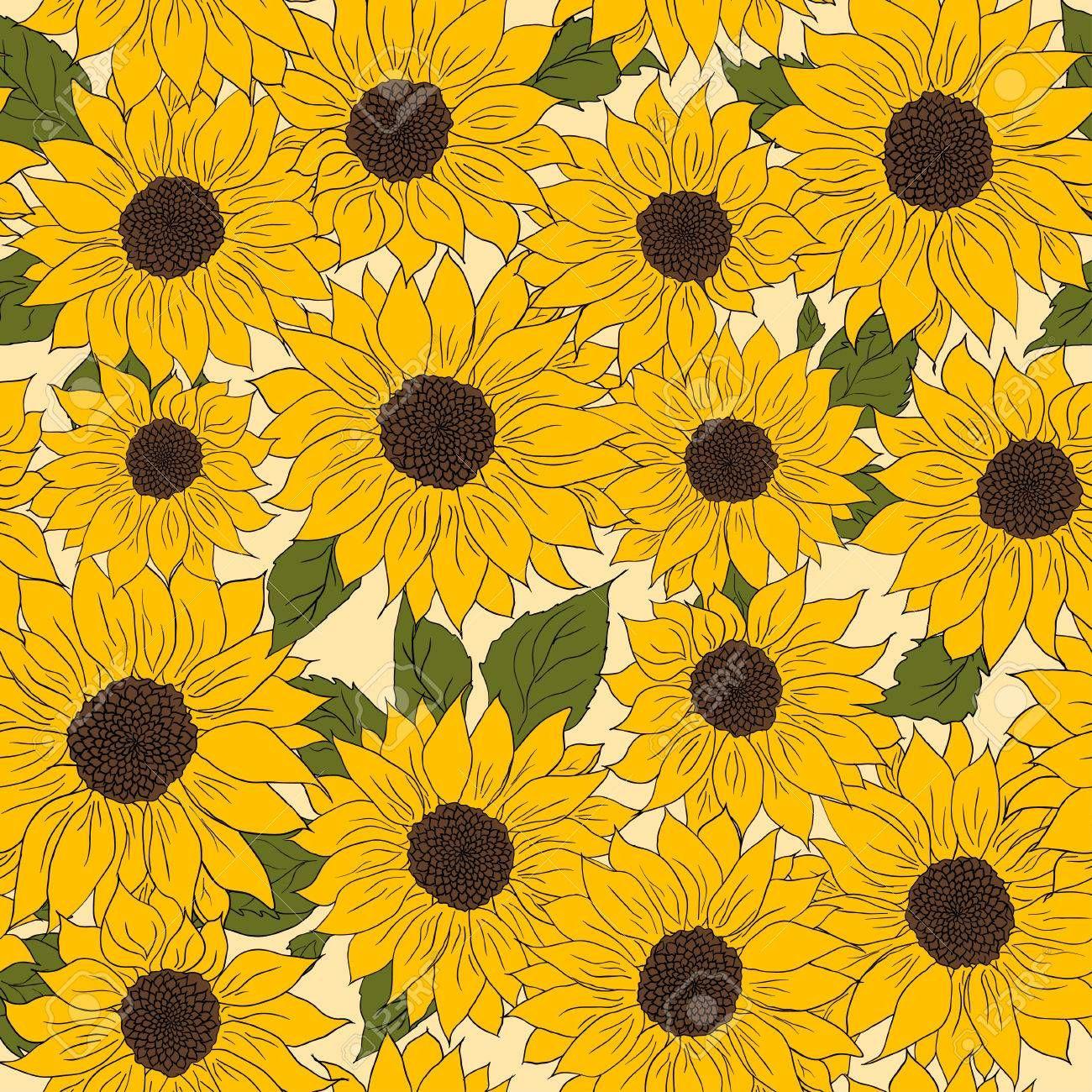 Paddle idea   Sunflowers background, Hand drawn pattern ...