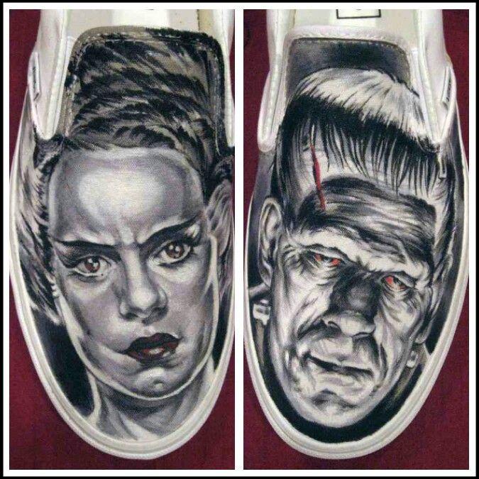 Frankenstein & His Bride Painted VANS Shoes