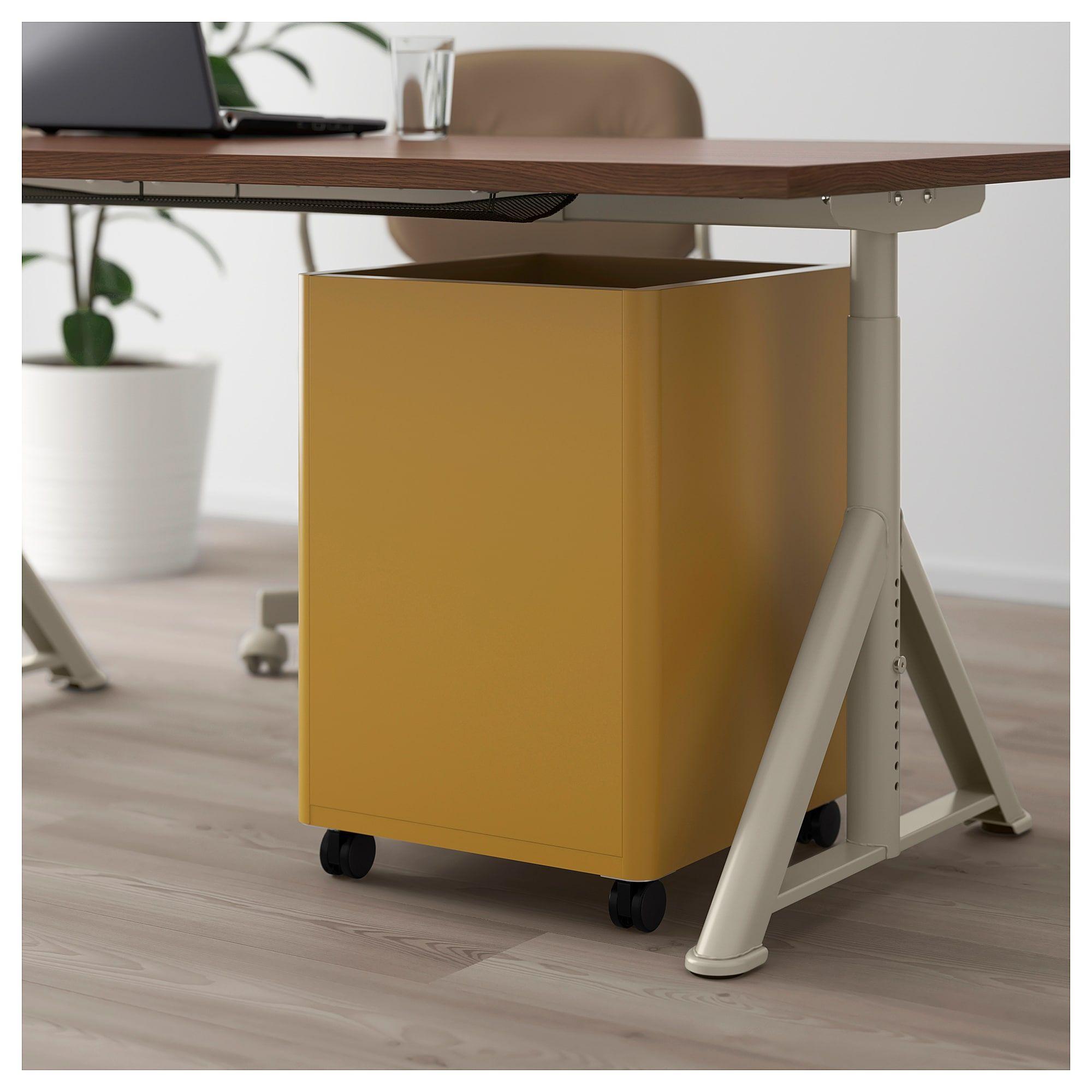 IDÅSEN Drawer unit with smart lock golden brown 16 1