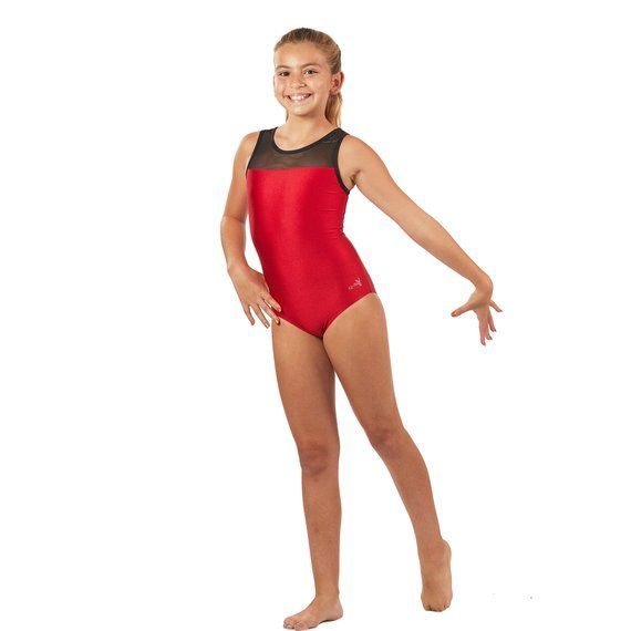 0a1059be1b8e Gymnastics Leotards Red Mesh with Mesh Back in Girls and Womens ...