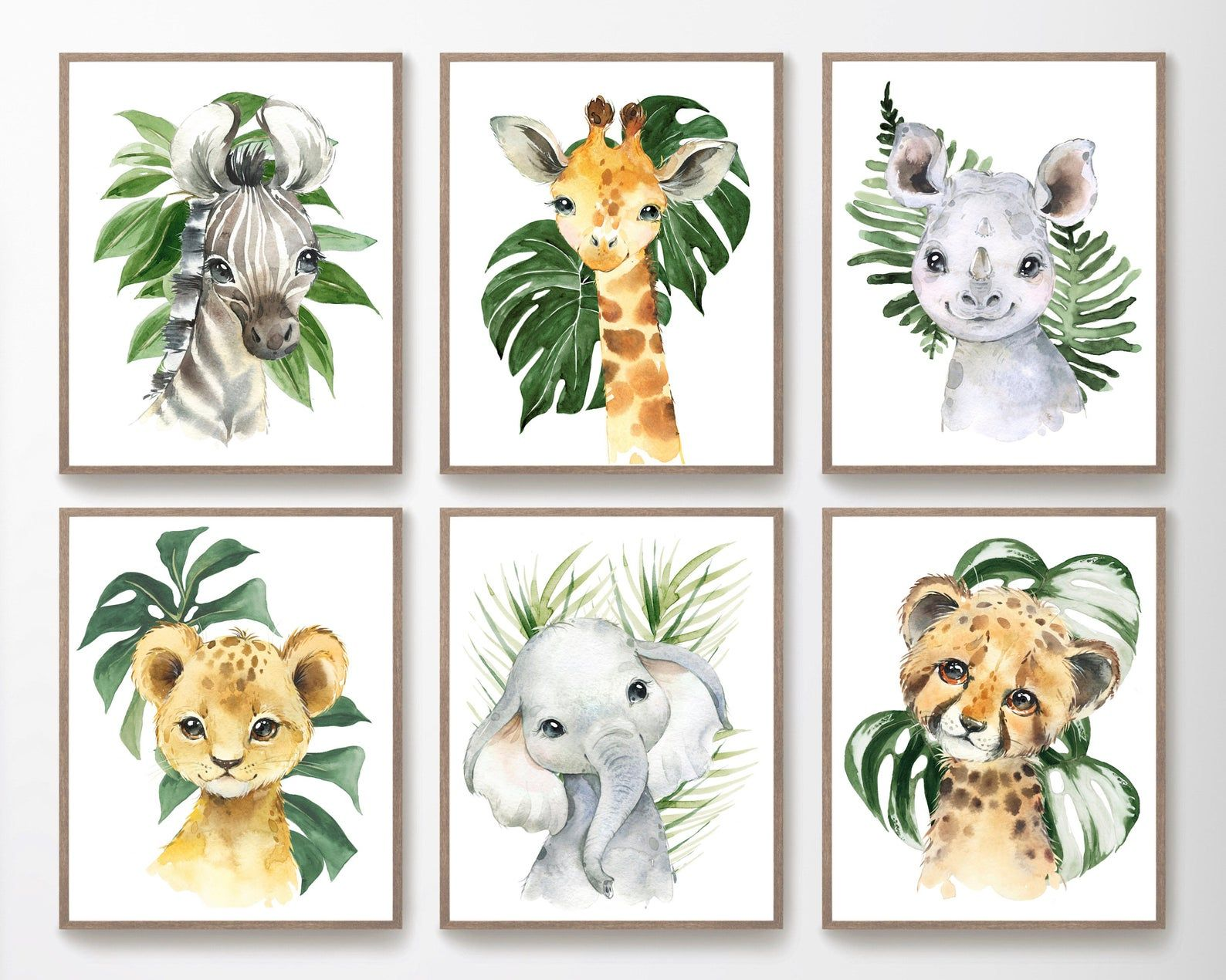 Safari Nursery Decor Watercolor Animal Prints Jungle Animals Baby Boy Nursery Wall Art Tropical Leaves Boys Room Decor Kids Playroom Safari Nursery Prints Safari Nursery Decor Safari Nursery Painting