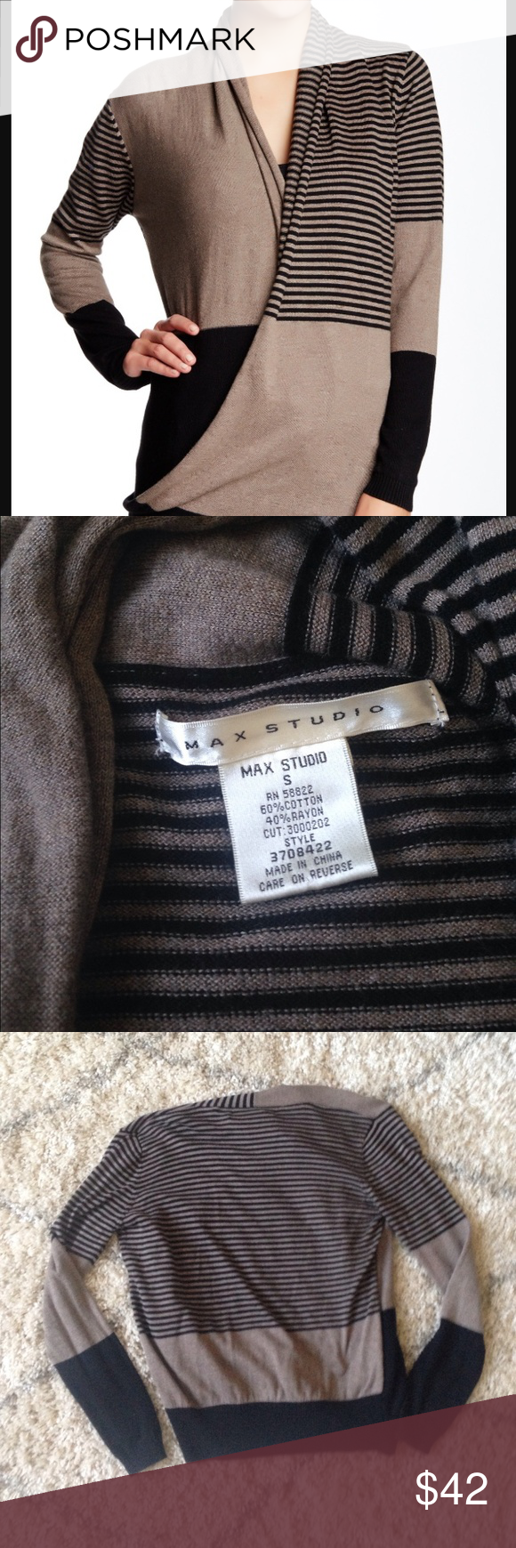 Max Studio Wrap Sweater! Designer sweater! Max Studio sweater and in amazing condition! Only worn a couple times. Originally purchased from Nordstrom! No trades or Paypal please and this comes from a smoke free home! Max Studio Sweaters