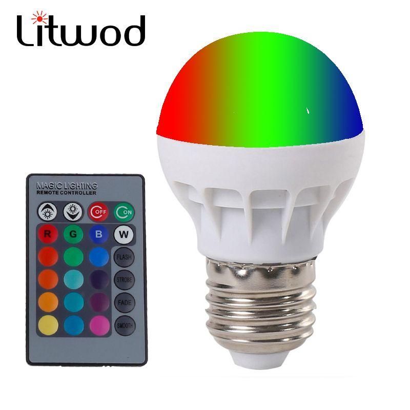 Litwod E27 LED RGB Magic Lamp Lamp 3W AC85-265V 220V RGB Led Light Spotlight  Ir-afstandsbediening controle and white white