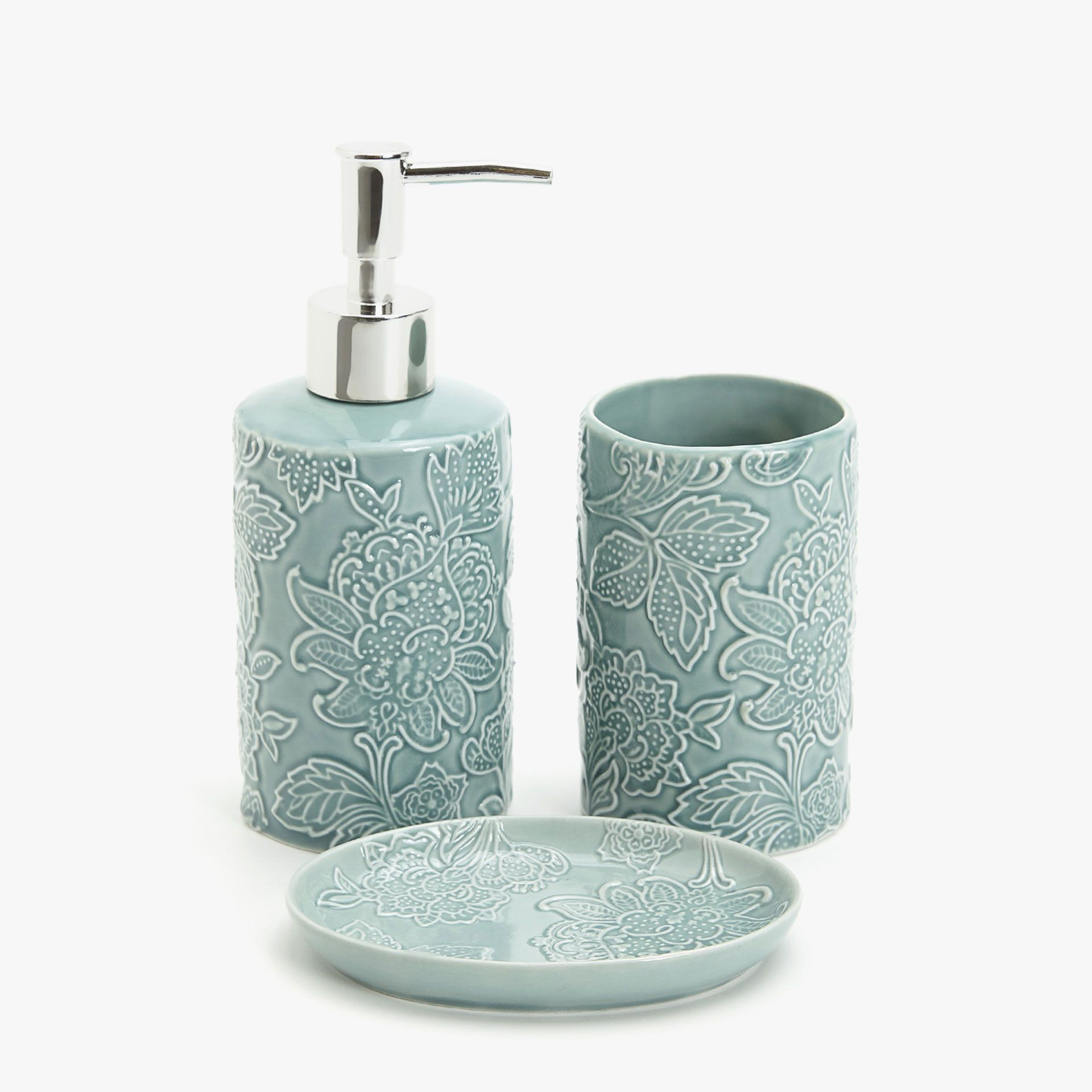 Аксессуары для ванной с цветочным узором синего цвета