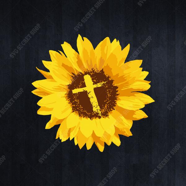 Sunflower With Cross SVG, Jesus SVG, Sunflower SVG, Cross