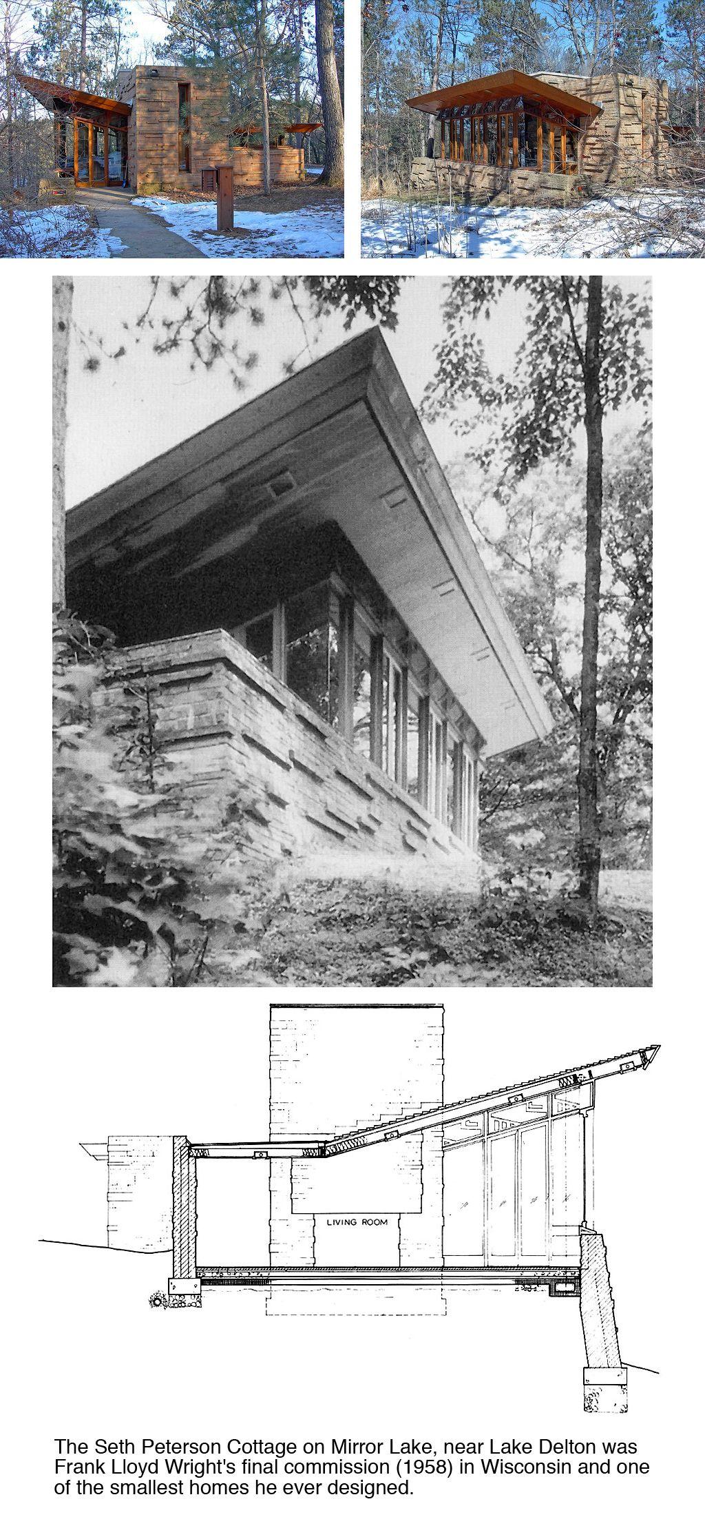Seth peterson cottage 1958 on mirror lake in lake delton for Progetti di cottage sulla spiaggia e planimetrie