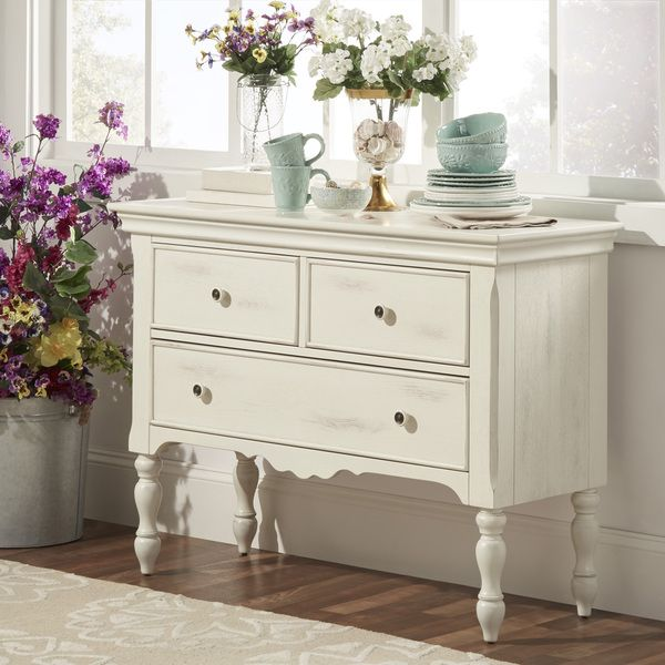 McKay Country Antique White Buffet Storage Server By
