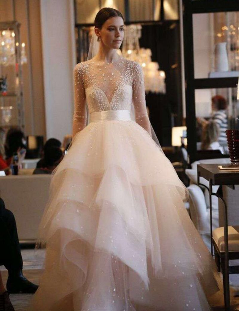 Real Samples Ball Gown Puffy Applique Wedding Dress 2017 Long ...
