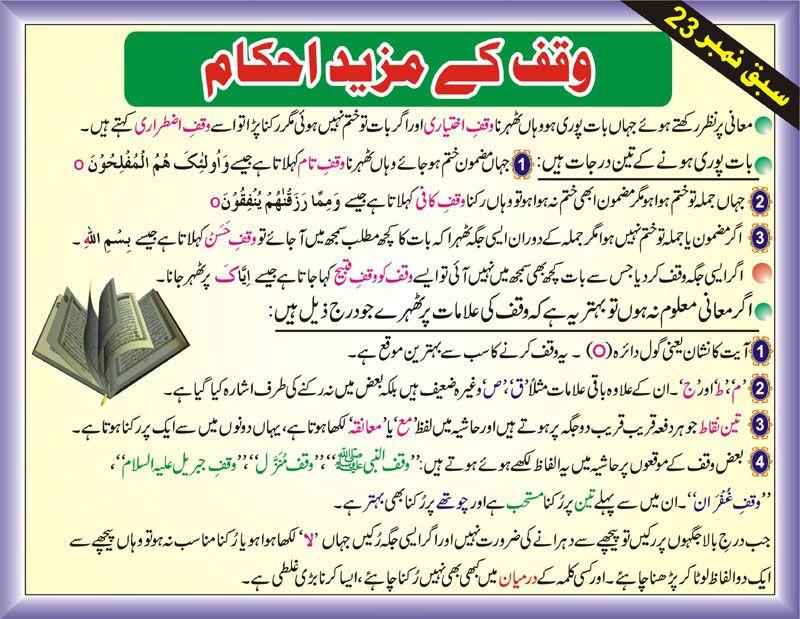 Tajweed Rules In Urdu-Waqaf Ikhtiari-Waqfe Kafi-Waqaf Al-Hasan-waqf