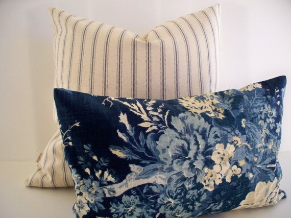 Blue Floral Pillow Cover French Country Blue Blue