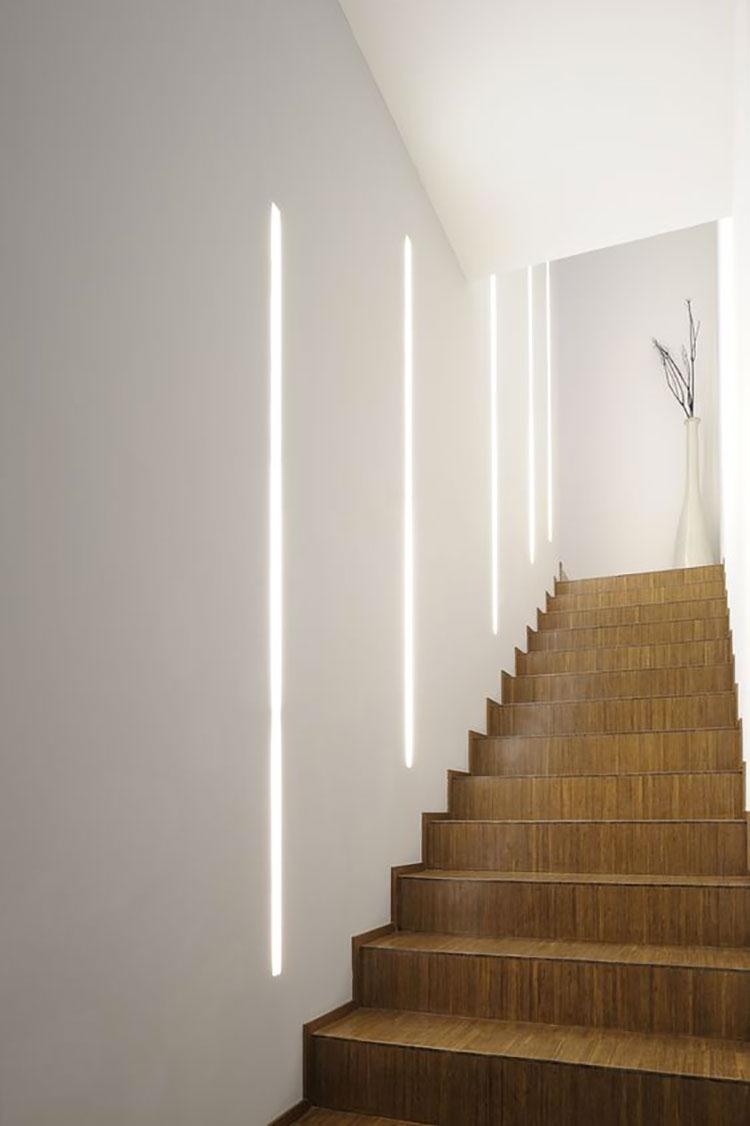 Come Pitturare Le Pareti Di Una Scala Interna illuminazione per scale interne: 30 idee originali con luci