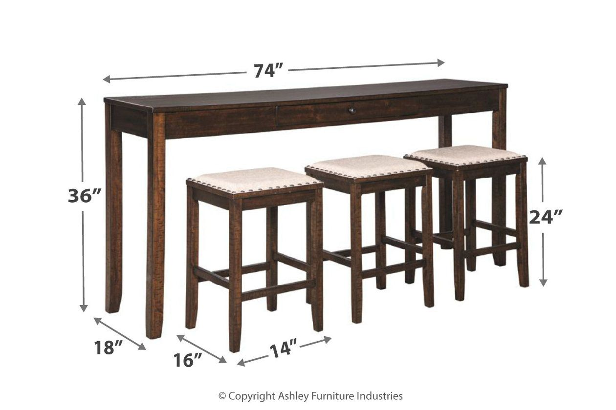 Rokane Counter Height Dining Table And Bar Stools Set Of 4 Ashley Furniture Homestore Counter Height Dining Room Tables Counter Height Table Sets Counter Height Dining Sets