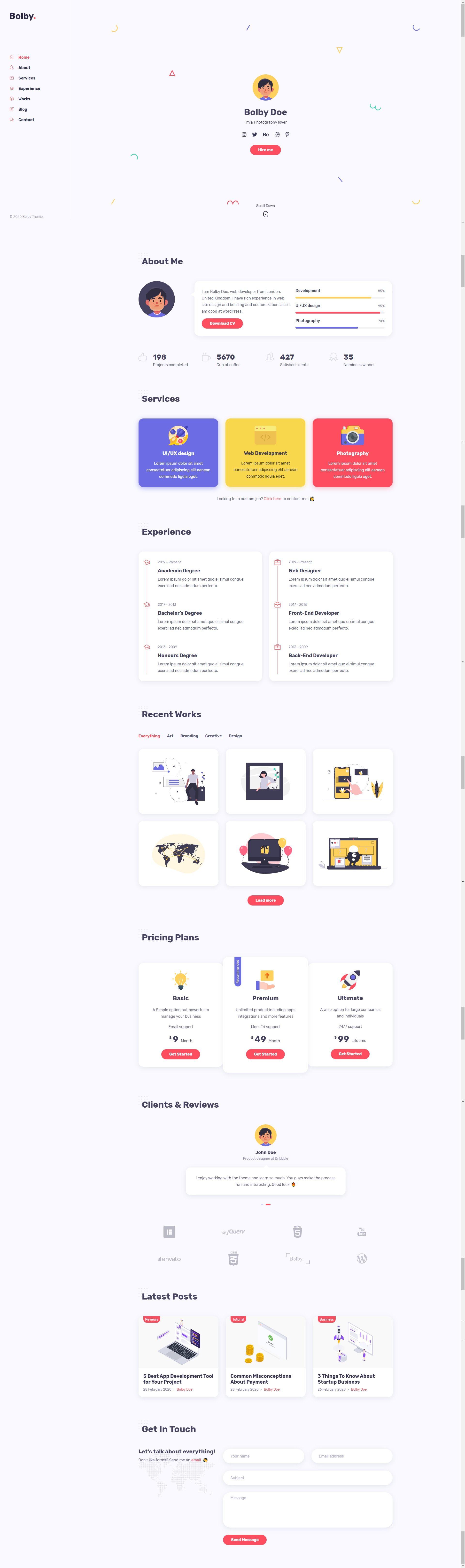 Bolby — Portfolio/CV/Resume WordPress Theme Stylelib in
