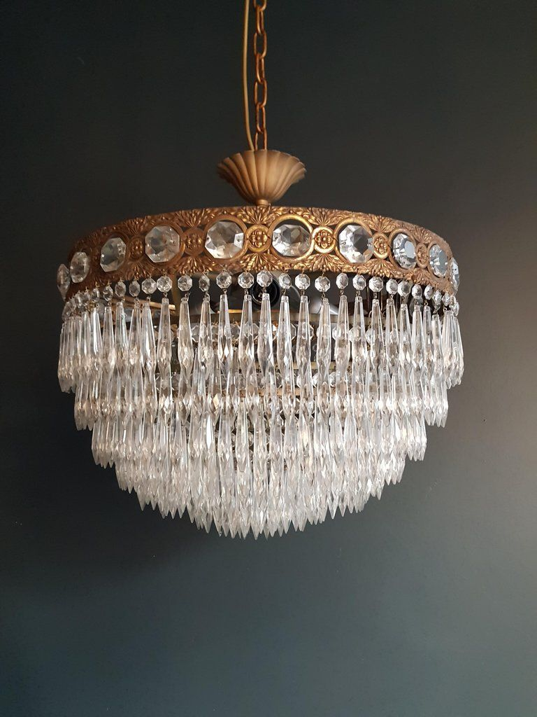 Low Ceiling Crystal Chandelier Brass Cabling Completely Renewed Crystal Hand Knotted Measures Total Height 5 Brass Chandelier Crystal Chandelier Chandelier
