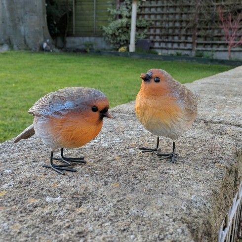 pair of small garden robin bird ornaments a set of two. Black Bedroom Furniture Sets. Home Design Ideas