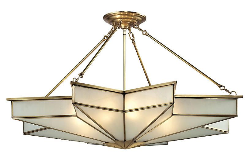 One kings lane decostar 8 light pendant brushed brass flush mount
