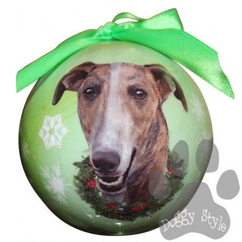 Greyhound Brindle Shatterproof Dog Breed Christmas Ornament ...