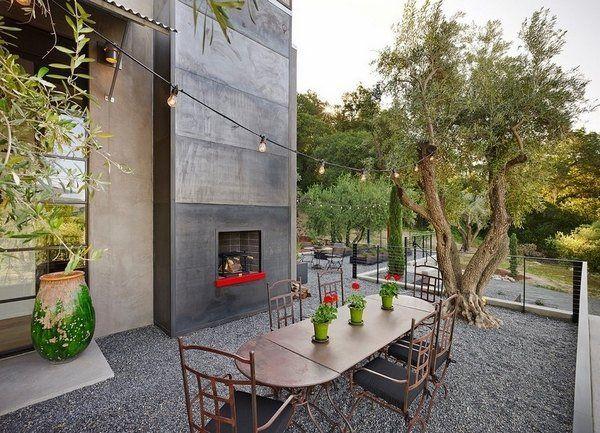 modern patio ideas outdoor fireplace gravel patio flooring outdoor
