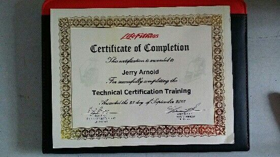 A.E.S. Fitness technicians are all Factory Certified with Major manufacturers. Our Life fitness certification has just been renewed.