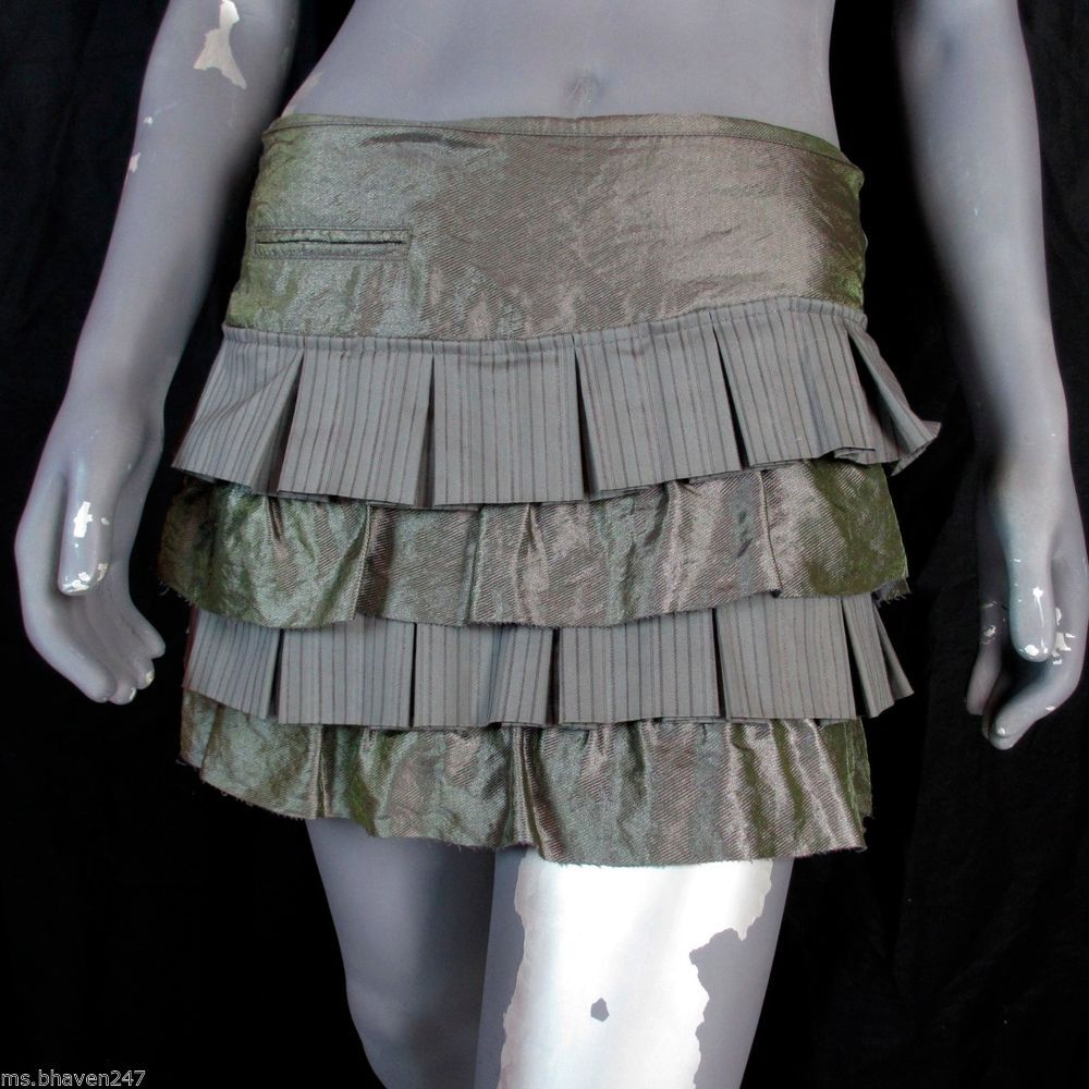 Bebe Tiered Ruffle Green Pinstripe Pleated Mini Skirt Designer NWT #bebe #Tiered