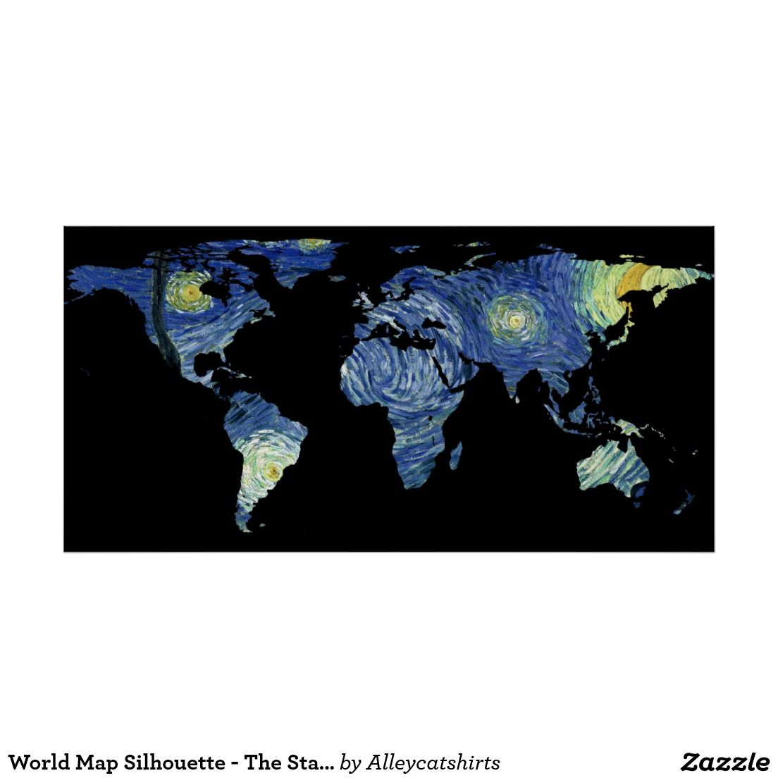 World map silhouette the starry night poster silhouette world map silhouette the starry night poster gumiabroncs Gallery