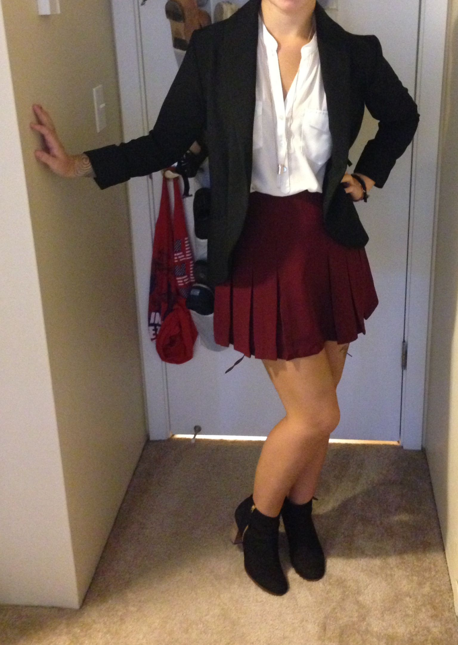 forever21 professional fall outfit with Cole Haan Booties and a Harlowe and Graham blazer.