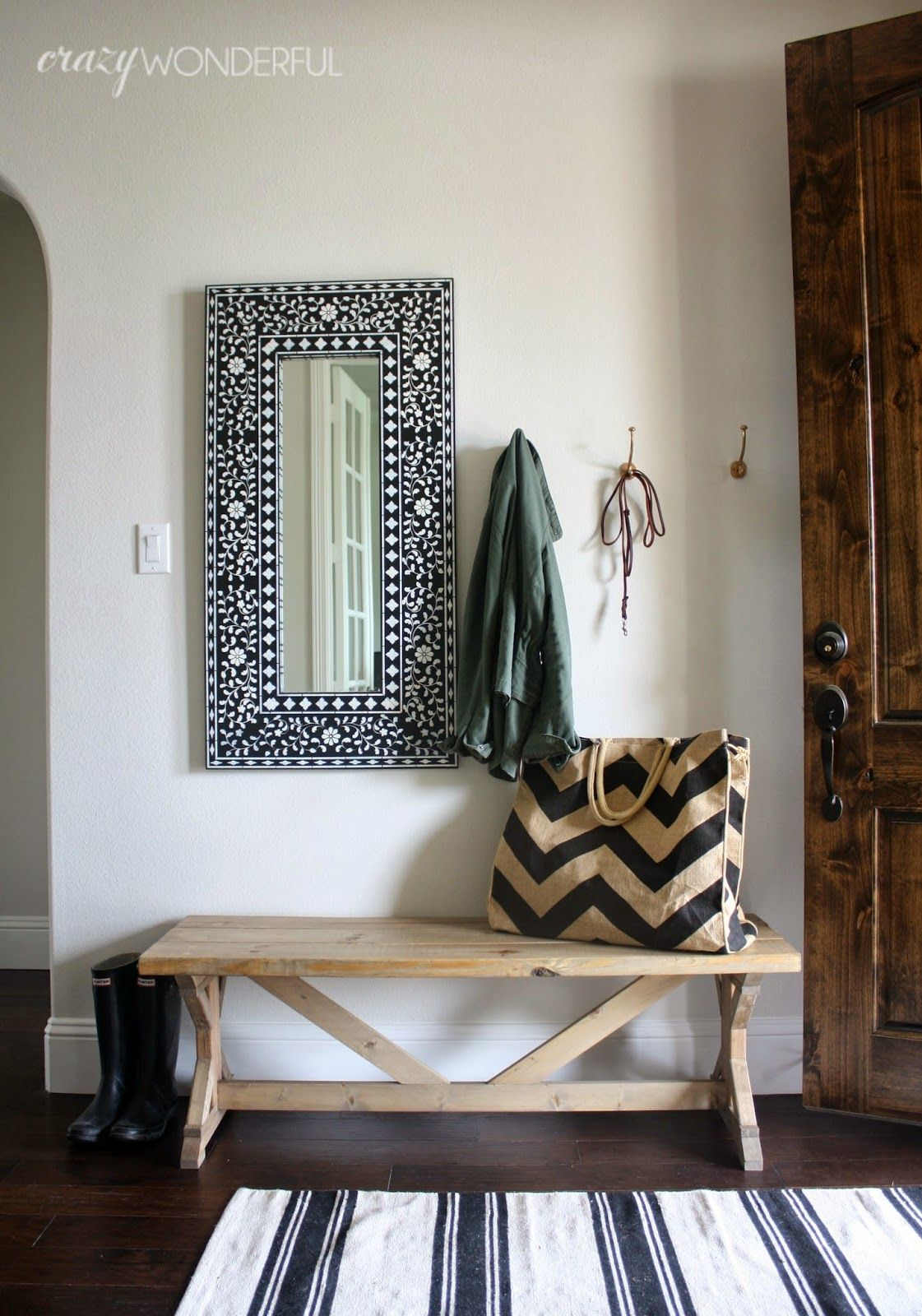 DIY bench and faux inlay wood mirror #boneinlay #diybench #entry ...