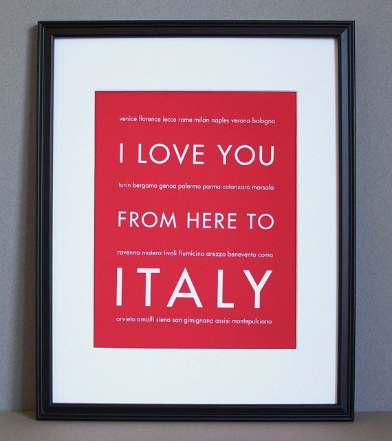 Italy Wall Art Print Poster I Love You From Here To ITALY Shown In Scarlet Red