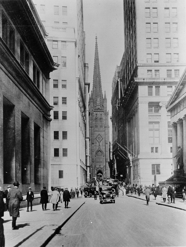 1927 image of wall street new york city with trinity on wall street news id=89414