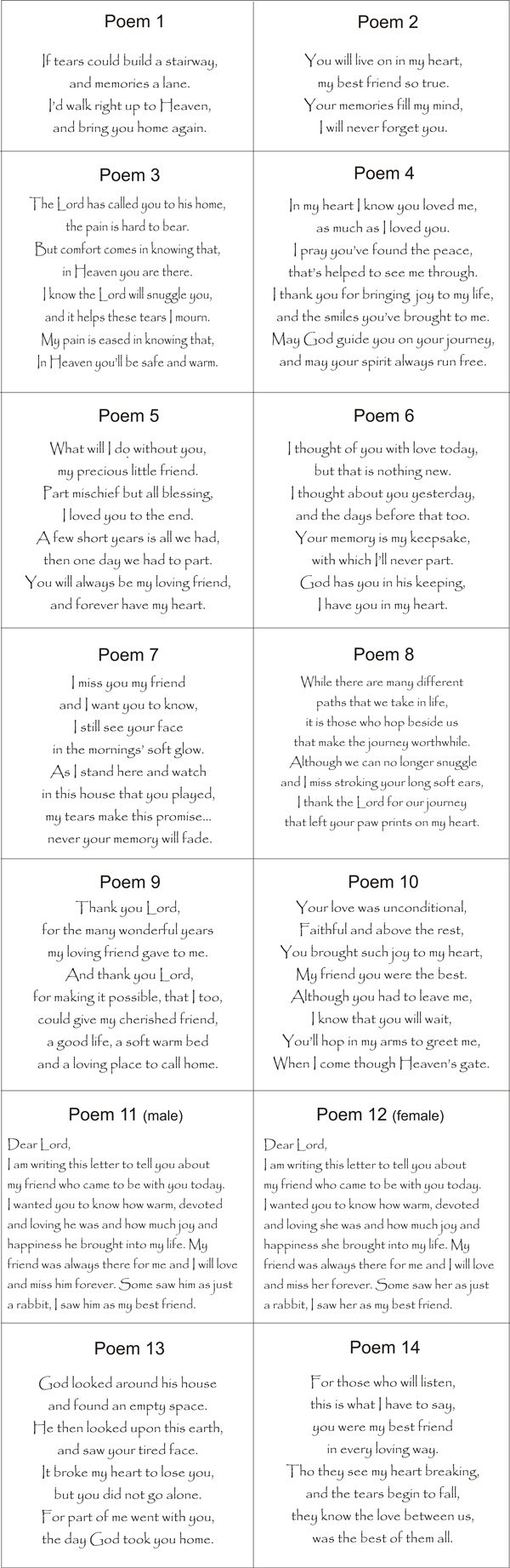 Pet Loss Poems For Animals - ideas for writing all those euthanasia sympathy cards.