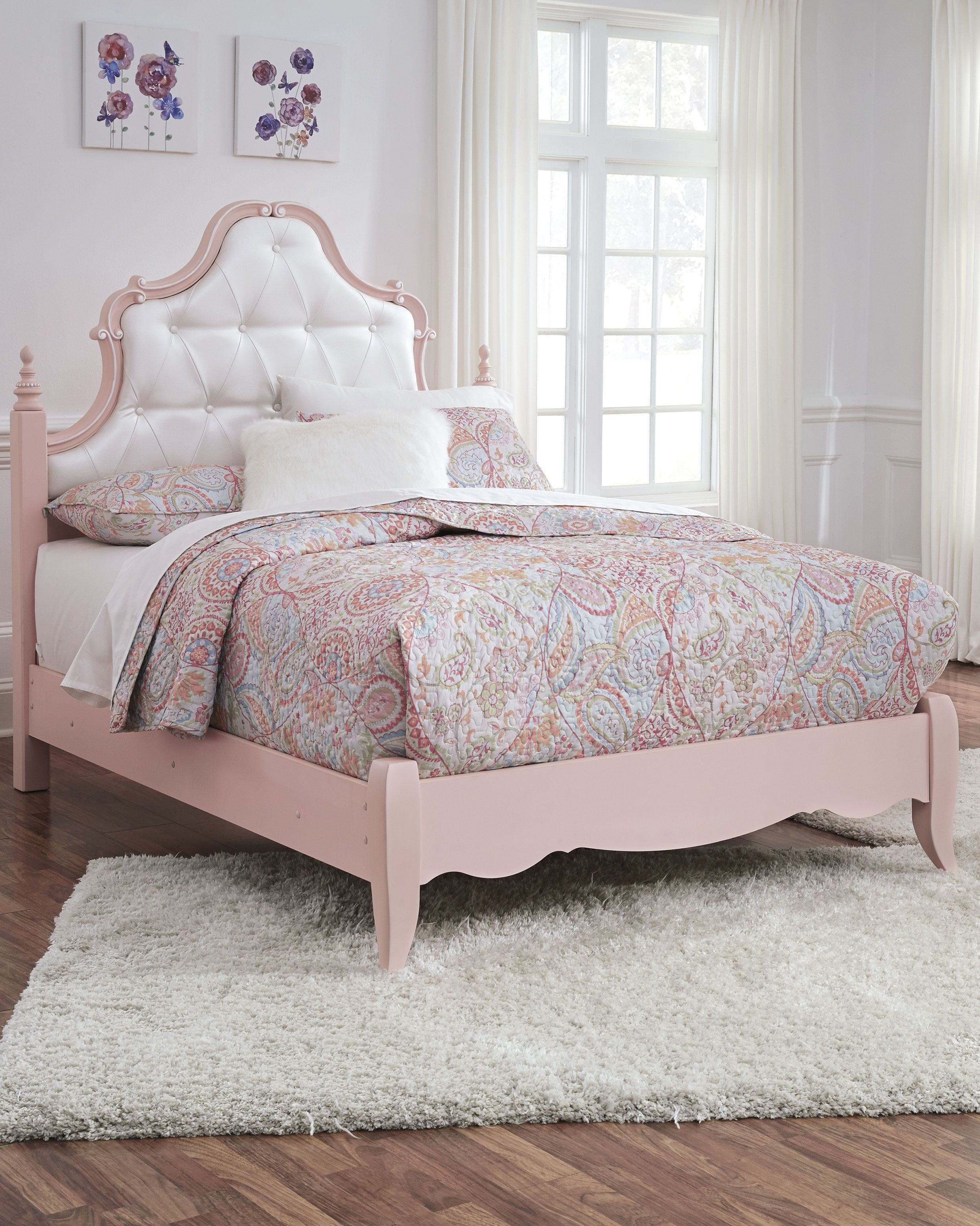 Laddi Full Upholstered Panel Bed, White/Pink Bed, Panel