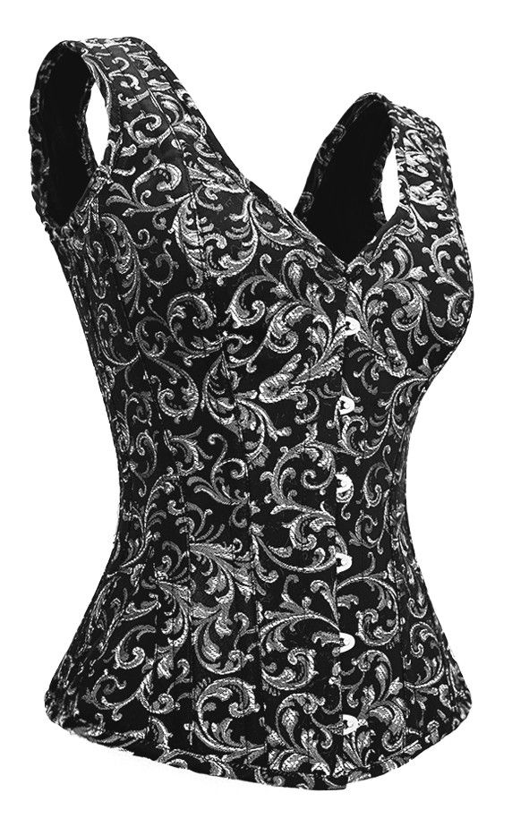 8c3bb9e4126 The shoulder straps and the material- silver brocade corset with V-neck It  is so versatile.Corset size 26
