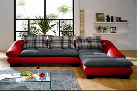 Fabric corner sofa set designs ideas in modern living room - Living room sofa sets decoration ...