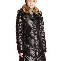 #French Connection Womens Down Coat with Faux-Fur Collar