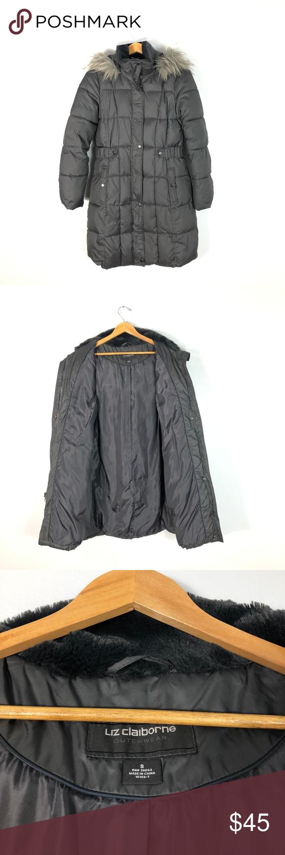 Liz Claiborne Outerwear Long Puffer Jacket S Liz Claiborne Puffer Jackets Faux Fur Hood [ 1740 x 580 Pixel ]