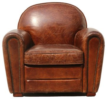 Pasargad Genuine Leather Paris Club Chair - contemporary - Armchairs And Accent Chairs - Glen Cove Rug Company