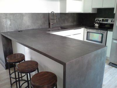 Béton Ciré Décoratif Enduitdéco BETON CIRE Pinterest Beton - Table salle a manger beton cire pour idees de deco de cuisine