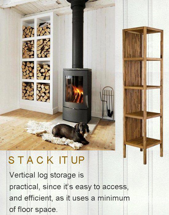 Living Room Storage Shelf for Firewood | Firewood storage ...